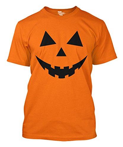 Pumpkin Face - Halloween Teeth Men's T-shirt (XL, ORANGE) (Halloween Tshirt)