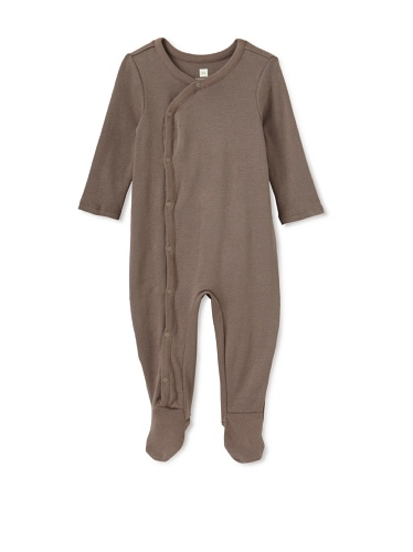 Tea Collection Solid Wrap Footed One-Piece, Steel Grey, 0-3M