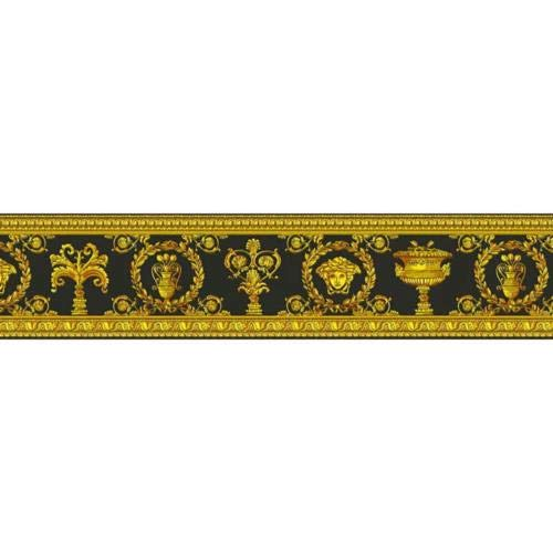 343051 - Versace Greek Mythology Black Gold AS Creation Wallpaper Border