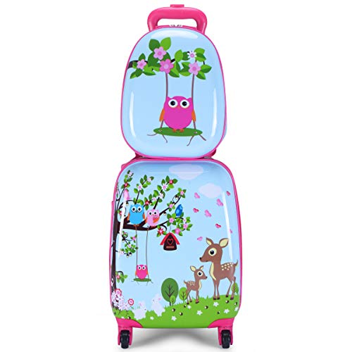 Goplus 2Pc 12' 16' Kids Carry On Luggage Set Upright Hard Side Hard Shell Suitcase School Travel Trolley ABS (Deer & Birds)