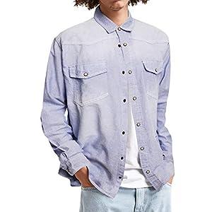 Men's Long Sleeve Denim Shirt Slim Fit Casual Vintage Chambray Button Down Shirt
