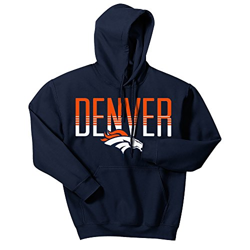 Zubaz NFL Denver Broncos Mens Gradient Logo Hoodie, XX-Large, Navy