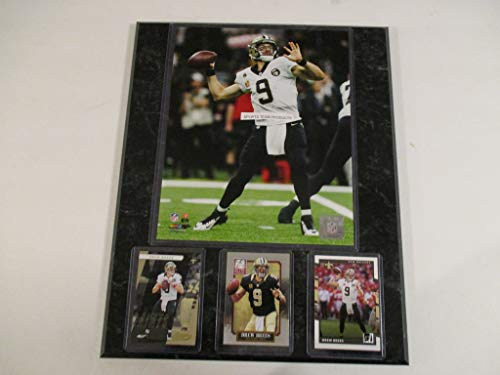 (DREW BREES NEW ORLEANS SAINTS SETS THE ALL-TIME PASSING RECORD PHOTO PLUS 3 CARDS FEATURING ABSOLUTE 2018 MOUNTED ON A