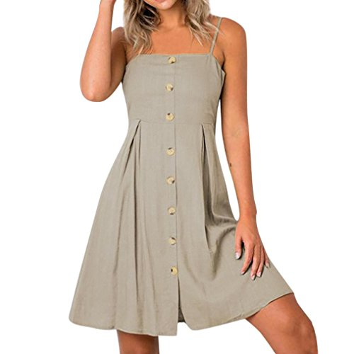 e971f5848218 Trägerlos Khaki Tasten Kleid Damen Sexy Throngh Frau Sommer Janly ...