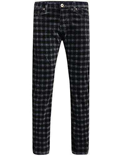 SSLR Men's Slim Fit Straight-Leg Corduroy Pants (34, Grey)