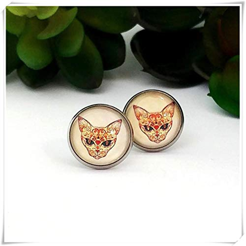Sugar Skull cat Stud Earrings Cabochon Earrings Choice Gold or Bronze Posts Post Earrings Cat Earrings Cat mom ()
