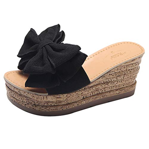 HENWERD Women Fashion Solid Color Bow Wedges Slipper Open Toe Sandals Kitten Heels Shoes (Black,7.5 US)