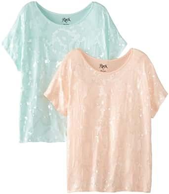 Wrangler Women's Rock 47 Two-Pack Short Sleeve All Over Sequin Shirts, 2 pk.  Peach/Mint, Medium