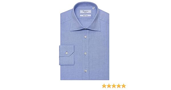 Camisa azul cuello semi francés, manga larga, Slim Fit azul ...