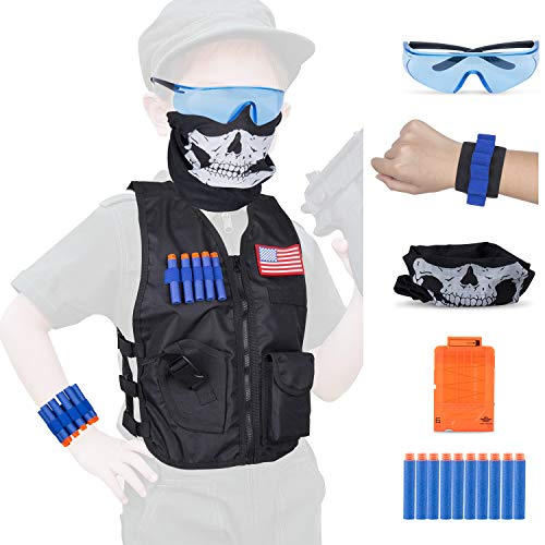 Kids Tactical Vest Kit Compatible Nerf Accessories Guns N-Strike Elite Series,Fuleadture Waterproof Compatible Nametag Ripping Battle Vest with Face Mask,Protective Glasses,20pcs Refill Darts