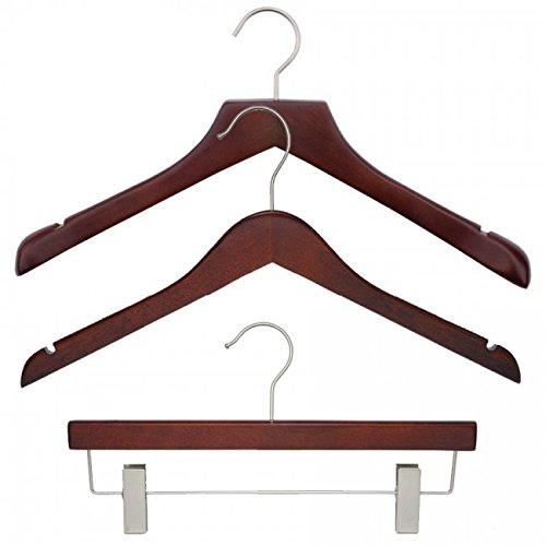 NAHANCO 20317HUSK Wood Clothes Hanger Kit - Low Gloss Mahogany (Pack of 79) by NAHANCO