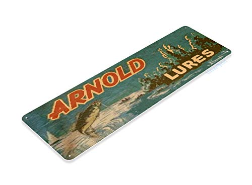 Tinworld Tin Sign Arnold Lures Retro Rustic Fishing Fish Bait Tackle Marina Shop Cave B652