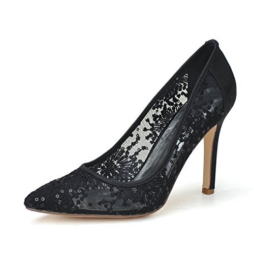 Clearbridal Women's Pointed Toe Stiletto Pumps Heels Lace Wedding Shoes and Prom Shoes ZXF0608-10 Black
