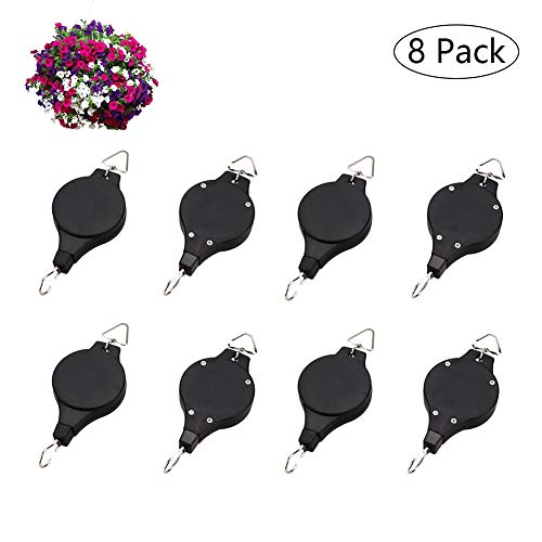 Amberqin Plant Pulley Retractable Pulley Plant Hanger Adjustable Hanging Flower Basket Hook Hanger Heavy Duty Easy Reach Pulley Plant (8 Pack)