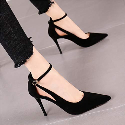 Solos Fina La Salvaje Zapatos Palabra De Aguja Con Tacones Punta Hrcxue Corte Negro Hebilla Huecos 1n60xqnf