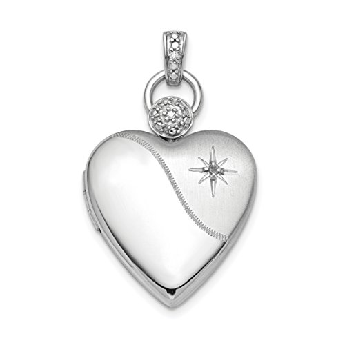 ICE CARATS 925 Sterling Silver Plate 21mm Heart Diamond Accent Photo Pendant Charm Locket Chain Necklace That Holds Pictures Fine Jewelry Gift Set For Women Heart by ICE CARATS