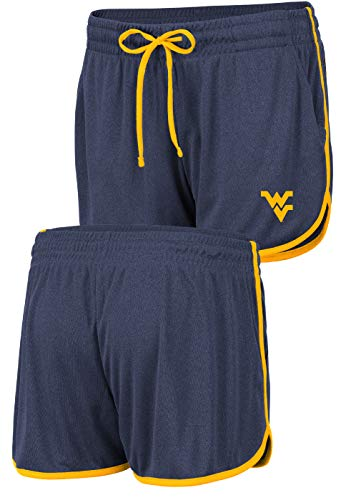 (Women's NCAA Toulon Polyester Gym Style Shorts (Medium, West Virginia Mountaineers))