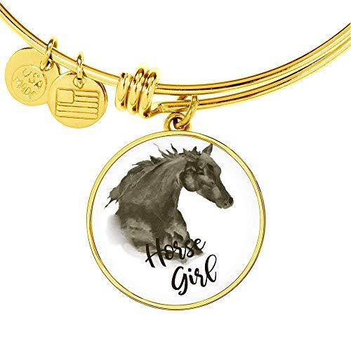 Rural Peddler Horse Girl Bracelet for Rodeo, Barrel Racing, (18K Gold -