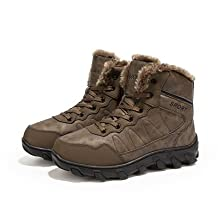 YFF Men Boots High Top Leather Warm Snow Boots Non-slip Casual