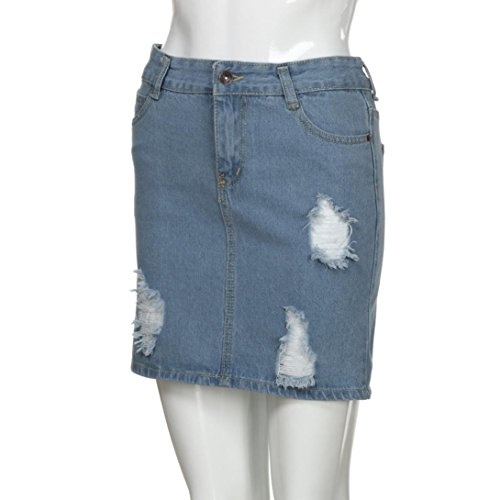 Denim Femmes Mini d't Fathoit Jupe Bleu a Court Hole Casual Jeans Solide Jeans Bouton Jupe Bleu Femme p4X41q