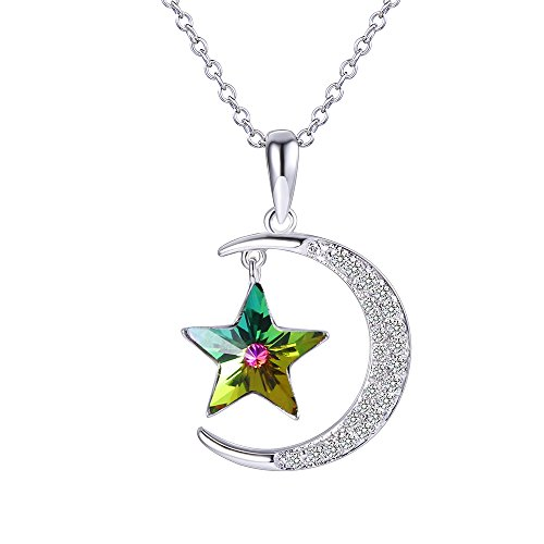 XUPING Jewelry Luxury Moon Star Pendant Necklace with Box Crystals from Swarovski Valentine's Day Women Girl Gifts (Crystal Volcano)
