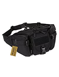 Protector Plus Tactical Waist Pack Pouch Waterproof Molle Fanny Hip Belt Bag (Black)