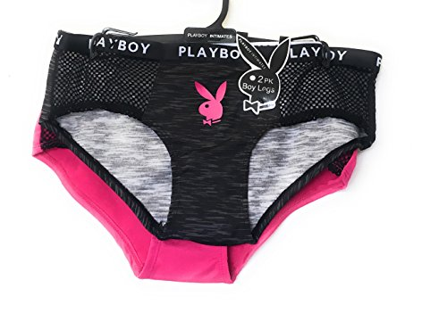 (Playboy Intimates Womens Boy Short Underwear Panties - 2 Pack - 2X)