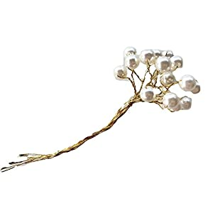 10 mm Ivory Artificial Pearls on Gold Wire picks p 5.5 inches long, floral arrangements, corsages, bouquets, hair accessories, wedding decor, showers, reception 57