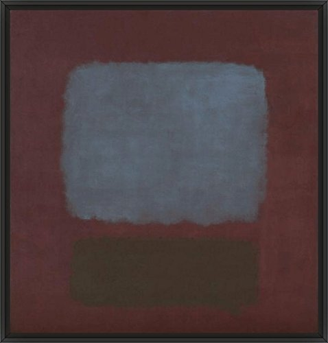 42in x 38in No. 37 / No. 19 (Slate Blue and Brown on Plum), 1958 by Mark Rothko - Black Floater Framed Canvas w/ BRUSHSTROKES