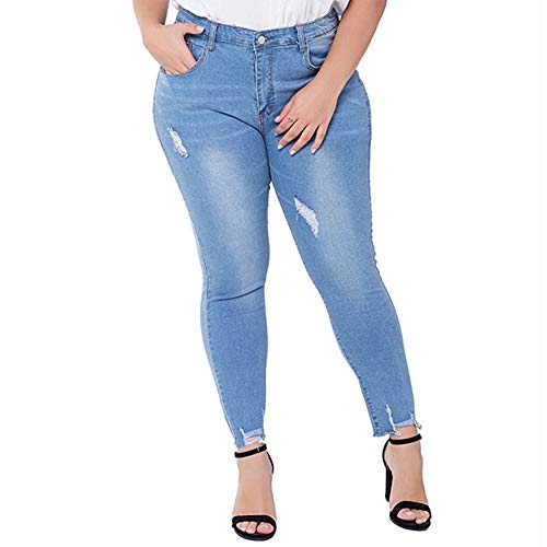 chicrechery Women's Stretch Slim Fit Skinny Leg Jeans Mid Rise Curvy Light Washed Denim Jegging