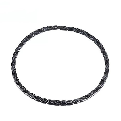 Men's Punk Black Titanium Steel 44PCS Strong Magnets Therapy Chain Necklace for Pain Neck Arthritis Headaches Relief