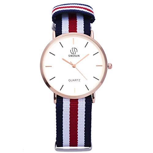 Wrist Watch Ultra-Thin Minimalist with Multi-Color Striped Band SIBOSUN Men Quartz Classic Strap White Dial Analog…