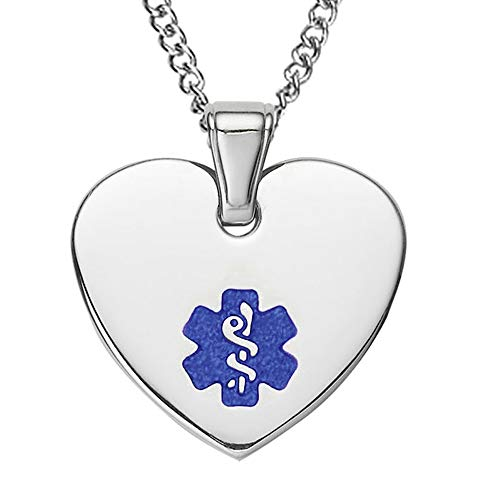 - Divoti Free Deep Custom Laser Engraved-Heart Tag Medical Alert ID Pendant Necklace for Women w/Free Engraving -24