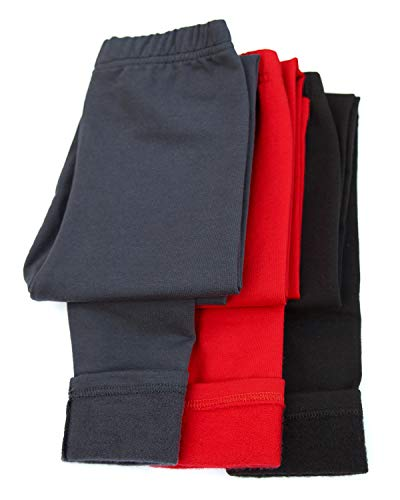 Fleece Organic (CAOMP Girls Winter Leggings Organic Cotton Stretch Pants School Play Warm Tights)