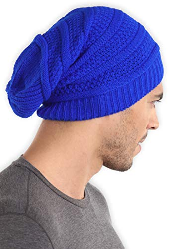 (Slouchy Cable Knit Beanie - Chunky, Oversized Slouch Beanie Hats for Men & Women - Stay Warm & Stylish - Serious Beanies for Serious Style (Royal))