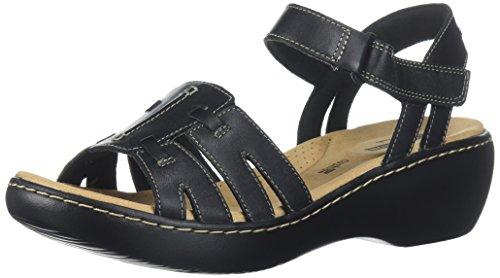 CLARKS Womens Delana Nila Platform, Black Leather, 9 Wide US