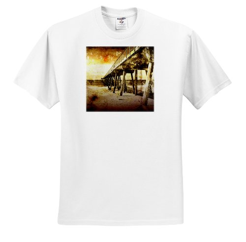 3dRose Perkins Designs Cities And Structures - Pacific Pier grunge photograph of Hermosa Beach, California pier on Pacific Ocean - T-Shirts - Adult T-Shirt Large (ts_19247_3) ()