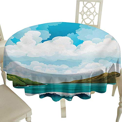 Flower Tablecloth 54 Inch Sea,Seascape with Waves Islands and Cloudy Blue Sky Tranquil Exotic Shores Cartoon Style,Multicolor Great for,Family & More