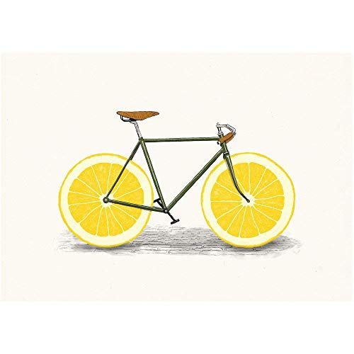 My Wonderful Walls Zest Lemon Bicycle Wall Sticker Decal by Florent Bodart, Small, Multicolored from My Wonderful Walls