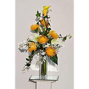 Silk Blooms Ltd Artificial Yellow Pincushion Protea, Calla Lily and Pixie Orchid Vase Arrangement w/Ivy Leaves 107