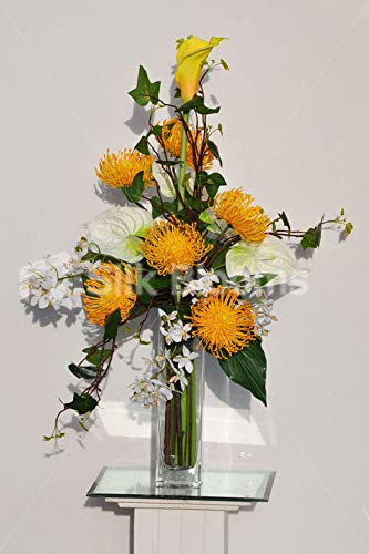 Silk Blooms Ltd Artificial Yellow Pincushion Protea, Calla Lily and Pixie Orchid Vase Arrangement w/Ivy Leaves