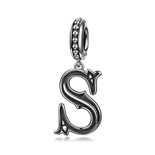 NINAQUEEN Letter S Alphabet Charm 925 Sterling Silver Roman Style Dangle Pandöra Charms Women Bracelet Birthday Anniversary Valentines Day Jewelry Gifts Her Teen Girls Wife Mom Daughter ()