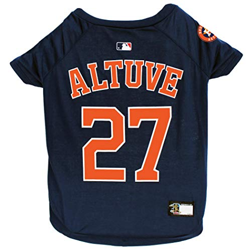MLBPA Jose Altuve #27 TEE Shirt for Dogs & Cats. MLB Houston Astros Dog T-Shirt, Small | Sports Dress for Pets | Licensed Sporty Dog Shirt.]()