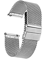Maker Watch Co. | Stainless Steel Mesh | Quick Release | Thick | Silver | Replacement Watch Strap | Engravable Deployment Clasp | 18MM, 20MM, 22MM
