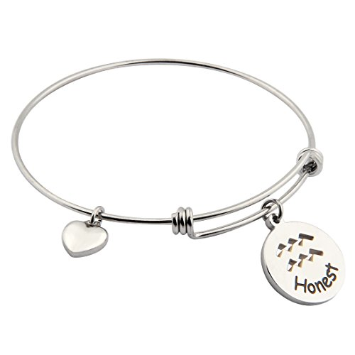 Ensianth Zodiac Sign Bracelet Stainless Steel Adjustable Bangle with Heart Charm