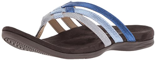 Triple Strap - Spenco Women's Triple Strap Flip-Flop, Blue/Silver, 9 Medium US
