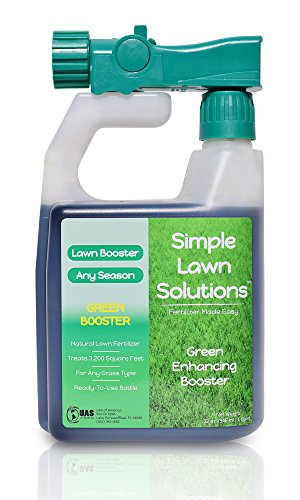 Intense Green Grass Enhancing Booster- Natural Spray Concentrated Liquid Fertilizer Micronutrient- Any Grass Type, All Season- Simple Lawn Solutions, 32-Ounce