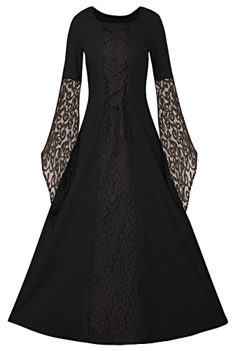 EastLife Womens Renaissance Medieval Dress Lace Up Vintage Floor Length Long Dress, Black, Medium ()