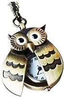 SODIAL(TM) Flappy Wings Owl Locket Watch Necklace