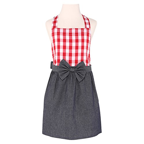 Neoviva Cotton Denim Kitchen Apron for Children with Bow Knot, Style Tiffany, Checked - Tiffany Knots